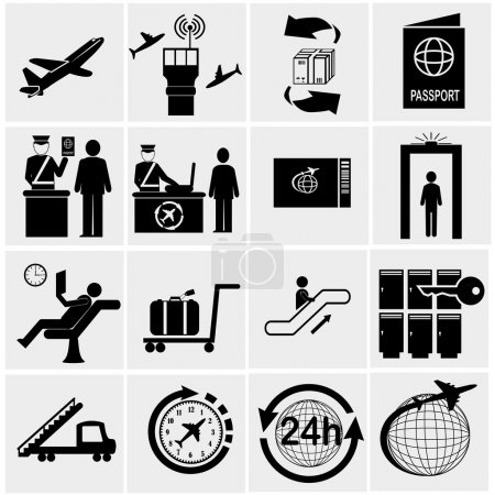 Illustration for Airport icons set.Vector illustration - Royalty Free Image