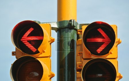 Photo for Traffic light indicating stop on both ways - Royalty Free Image