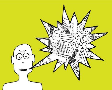 Illustration pour Homme de bande dessinée en colère se plaignant - image libre de droit