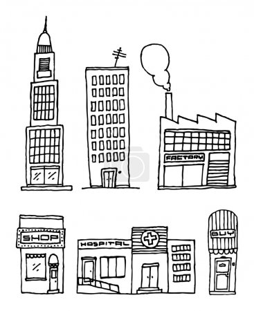 Vector City Buildings Ink drawing