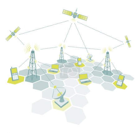 Illustration for Telecom working diagram - Royalty Free Image
