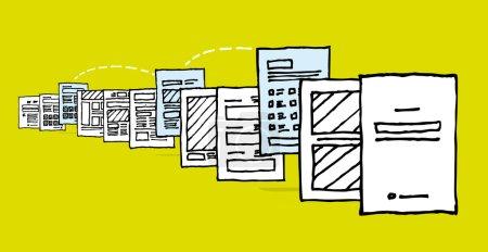 Illustration pour Partage de documents. Sélectionnez et modifiez la page ou la queue d'impression - image libre de droit