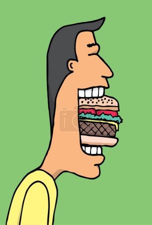 Illustration pour Dessin animé homme manger énorme hamburguer - image libre de droit