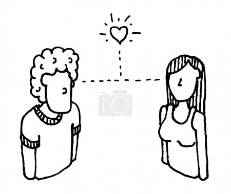 Love at first sight. Vector man and woman