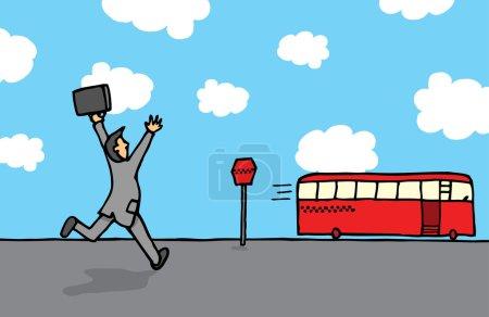 Businessman chasing a bus