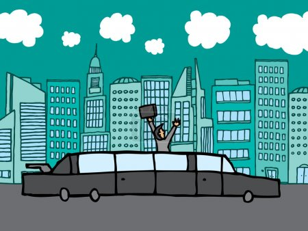 Illustration for Succesful businessman riding his limo - Royalty Free Image