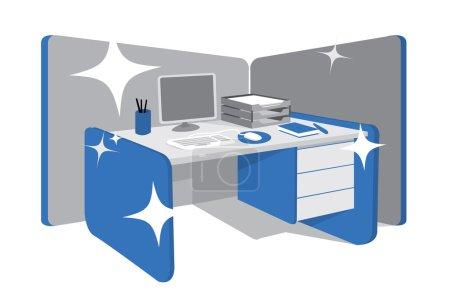 Illustration for Clean office desk. Workstation - Royalty Free Image