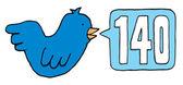 Blue bird twitting 140 characters on twitter
