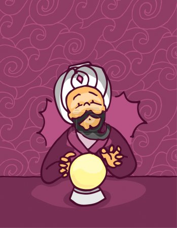 Illustration for Fortune teller sees the future in a glowing crystal magic ball - Royalty Free Image