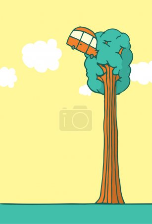 Illustration for Cartoon illustration of impossible failure car crashed into a tall tree with copyspace - Royalty Free Image
