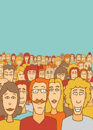 Illustration pour Illustration de bande dessinée d'une grande foule - image libre de droit