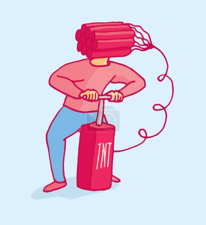 Illustration for Cartoon illustration of a man ready to blow his head with dynamite - Royalty Free Image