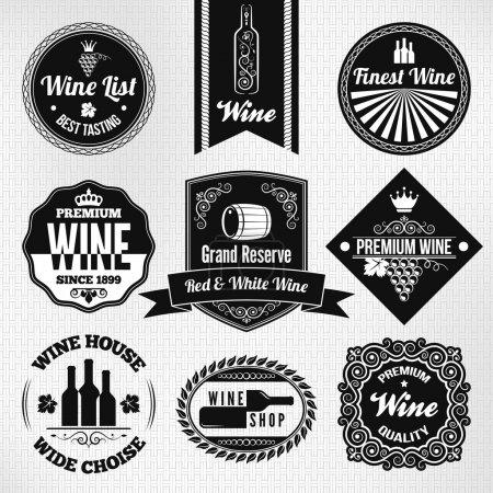 Illustration pour Ensemble d'étiquettes de vin vectoriel - image libre de droit