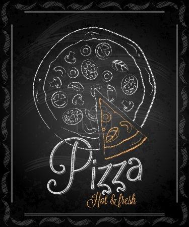 Illustration for Chalkboard - frame pizza menu 10 eps - Royalty Free Image