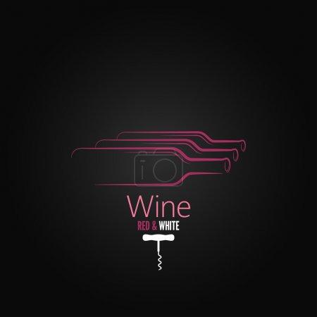Photo pour Bouteille de vin tire-bouchon design fond - image libre de droit