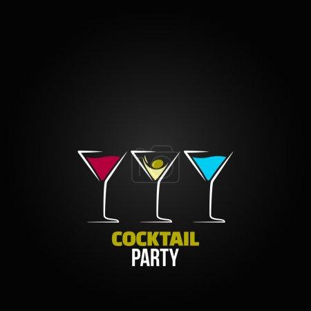 Illustration pour Cocktail fête verre design menu fond - image libre de droit
