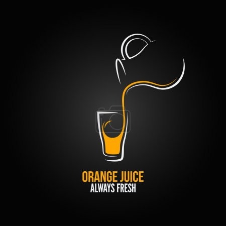 Illustration pour Jus d'orange bouteille en verre menu fond design - image libre de droit