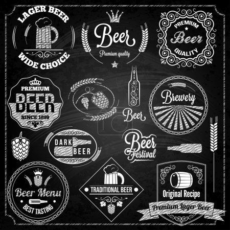 Illustration pour Bière éléments ensemble tableau noir - image libre de droit
