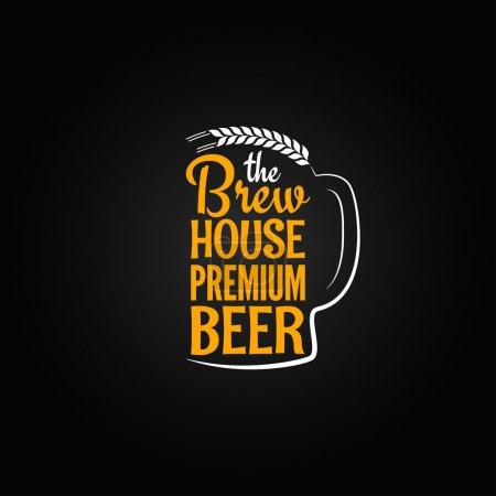 Illustration pour Bouteille de bière verre maison design menu arrière-plan - image libre de droit