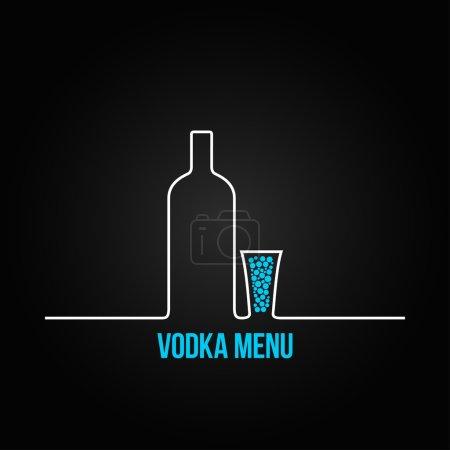 Photo pour Vodka bouteille verre daigne menu fond - image libre de droit