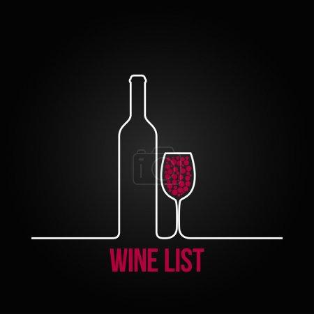 Illustration pour Bouteille de vin verre liste design menu arrière-plan - image libre de droit