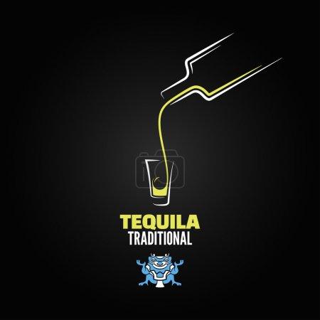 Illustration pour Tequila bouteille verre menu fond design - image libre de droit