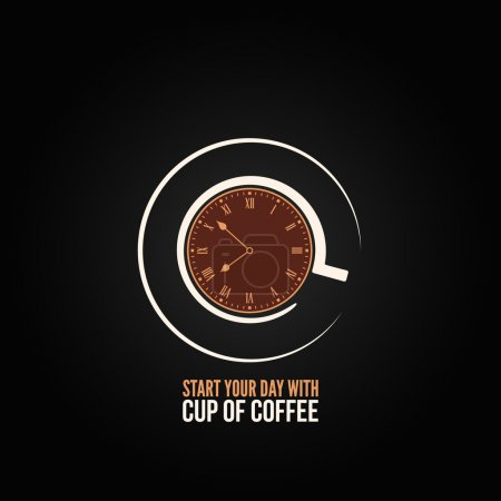 Coffee cup time clock concept design background