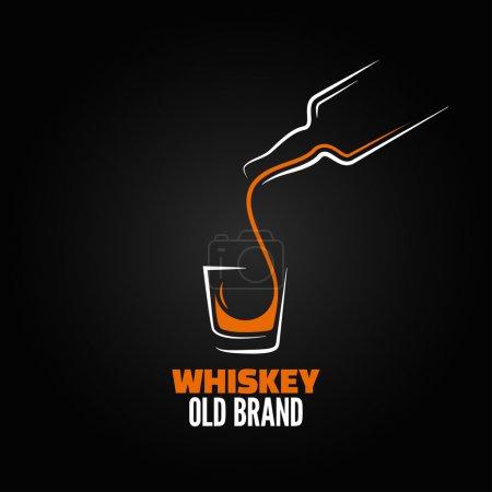 Illustration pour Whisky bouteille en verre shot splash menu fond - image libre de droit