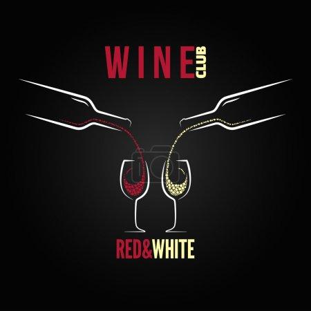 Illustration pour Menu concept bouteille en verre de vin - image libre de droit