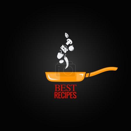 Frying pan design menu background 8 eps...