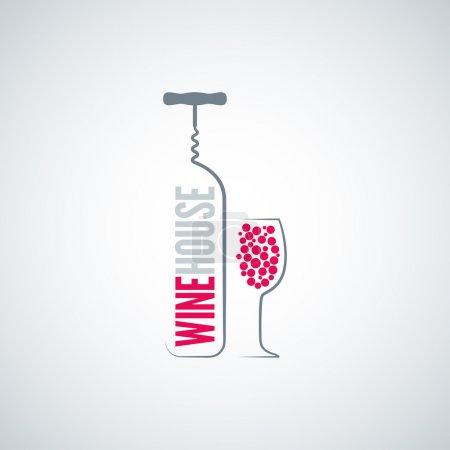 Photo pour Bouteille de vin verre menu fond 8 eps - image libre de droit