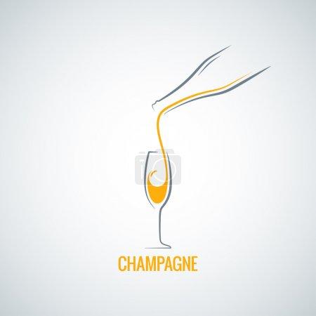 Illustration pour Champagne bouteille en verre fond design 8 eps - image libre de droit