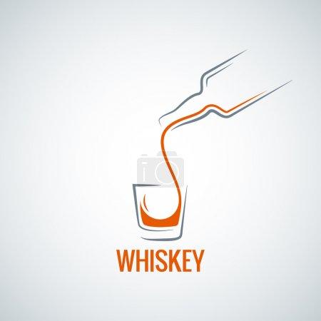 Photo pour Bouteille de verre de whisky fond éclaboussé 8 eps - image libre de droit