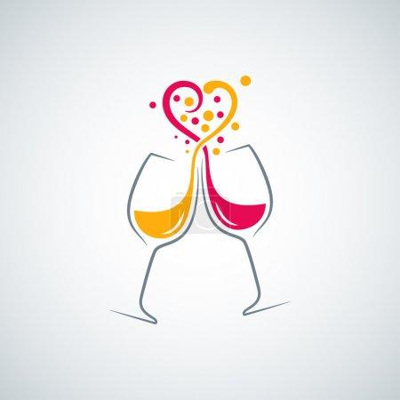 Photo pour Vin rouge et blanc amour concept fond 8 eps - image libre de droit