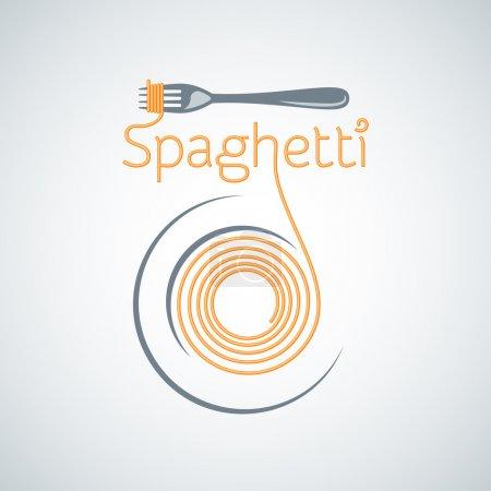 Photo pour Spaghetti plaque de pâtes fond de fourchette 8 eps - image libre de droit