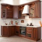 Dark brown wooden classic kitchen...