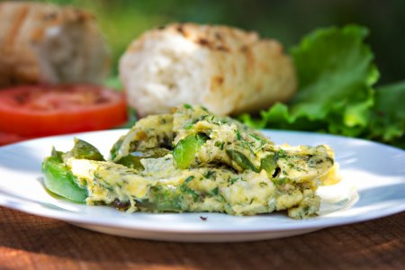 omelette with herbs and pepper