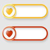Vektor dvě abstraktní tlačítka se srdcem