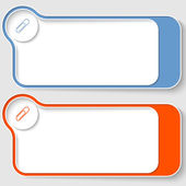 Set of two abstract text boxes with paper clip