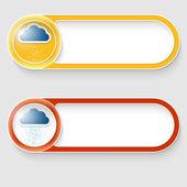 Vektor dvě abstraktní tlačítka s mraků a deště
