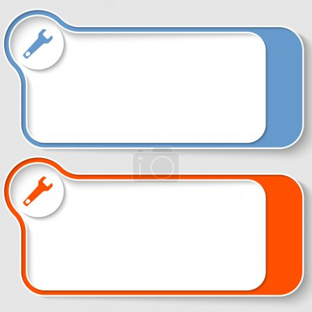 Illustration for Set of two abstract text boxes with spanner - Royalty Free Image