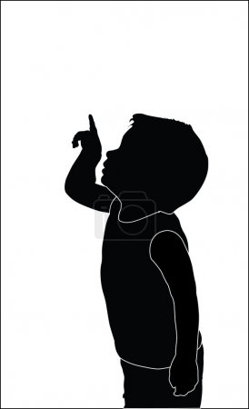 Little boy shows something in the sky silhouette