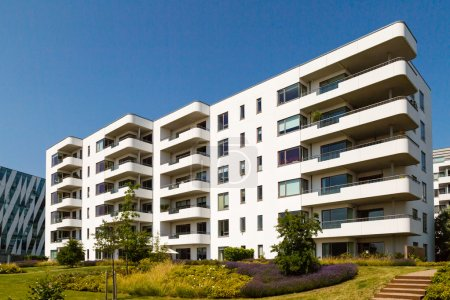 Photo for Modern apartment building on a sunny summer day in Hellerup, a suburb of Copenhagen, Denmark. - Royalty Free Image