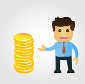 Business man cartoon with stack of gold