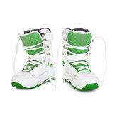 Snowboardové boty na bílém pozadí