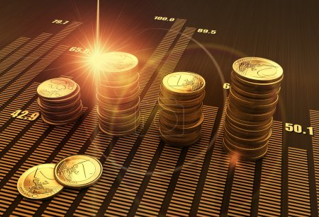 Photo for Financial business chart and coins - Royalty Free Image