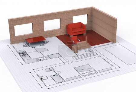 Photo for Architecture interior house plan - Royalty Free Image