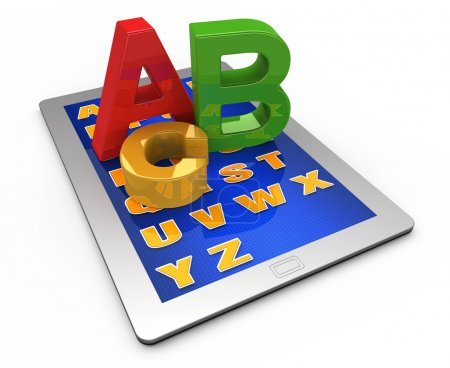 Letters of the alphabet on the tablet computer