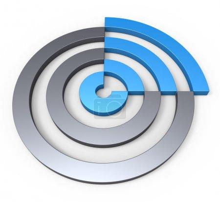 Circular blue sector concept