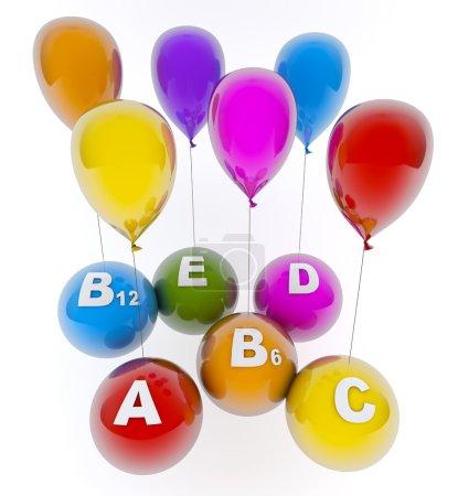 Photo pour Ballons avec des vitamines - image libre de droit